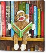 Sock Monkey Reading A Book Canvas Print