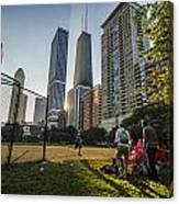Softball By Skyscrapers Canvas Print