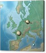 Solar System Compared To Europe Canvas Print