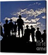Soldiers Watch Troop Movements At Fort Canvas Print
