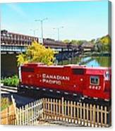 Solo Red Canadian Pacific Engine Along Rock River In Rockford Canvas Print