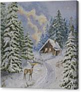 Somewhere In The Snowy Forest Canvas Print