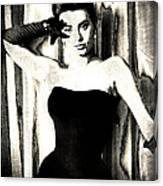 Sophia Loren - Black And White Canvas Print