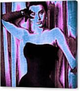 Sophia Loren - Blue Pop Art Canvas Print