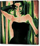 Sophia Loren - Green Pop Art Canvas Print