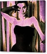 Sophia Loren - Purple Pop Art Canvas Print