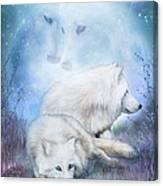 Soul Mates - White Wolves Canvas Print