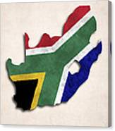 South Africa Map Art With Flag Design Canvas Print