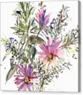 South African Daisies And Lavander Canvas Print