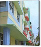 South Beach Facades Canvas Print