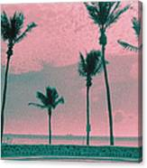 South Beach Miami Tropical Art Deco Five Palms Canvas Print