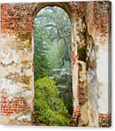 South Carolina Historic Church Photo Sheldon Ruins-- Another View From The Inside Canvas Print