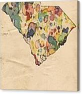 South Carolina Map Vintage Watercolor Canvas Print