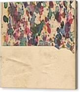 South Dakota Map Vintage Watercolor Canvas Print