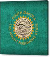 South Dakota State Flag Art On Worn Canvas Canvas Print