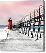 South Haven Light And Pier Canvas Print