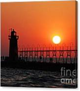 South Haven Lighthouse At Sunset 1 Canvas Print