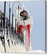 South Haven Lighthouse Frozen Ice Castle Canvas Print