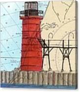 South Haven Lighthouse Mi Nautical Chart Map Art Cathy Peek Canvas Print