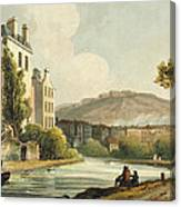 South Parade From Bath Illustrated Canvas Print