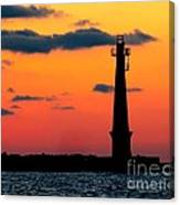 South Pier Light At Night Canvas Print