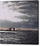 Southampton Docks From Weston Shore Winter Sunset Canvas Print