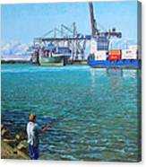 Southampton Western Docks Container Terminal As Seen From Marchwood Canvas Print