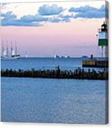 Southeast Guidewall Lighthouse At Sunset And Tall Ship Windy Canvas Print