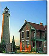 Southport Lighthouse On Simmons Island Canvas Print
