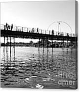 Southport Pier Across The Marine Lake Bw Canvas Print