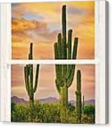Southwest Desert Sunset White Rustic Distressed Window Art Canvas Print