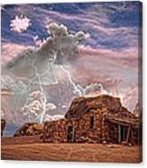 Southwest Navajo Rock House And Lightning Strikes Hdr Canvas Print