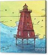 Southwest Reef Lighthouse La Nautical Chart Map Art Cathy Peek Canvas Print