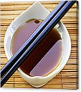Soy Sauce With Chopsticks Canvas Print