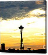 Space Needle Sunset Sillouette Canvas Print
