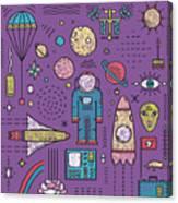 Space Planets Stars Cosmonaut Design Canvas Print