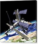 Space Station In Orbit Around Earth Canvas Print