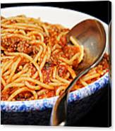 Spaghetti And Meat Sauce With Spoon Canvas Print