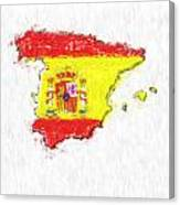 Spain Painted Flag Map Canvas Print