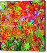 Sparking Butterflies Flowers Canvas Print