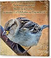 Sparrow With Verse Canvas Print