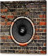 Speaker On A Cracked Brick Wall Canvas Print