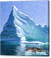 Sperm Whale Fluke In Front Of Iceberg Canvas Print