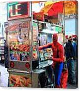 Spider Man Hot Dogs Canvas Print