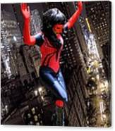 Spider Gal Leaping Canvas Print