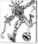 Spidey Dodges A Pumpkin Bomb Canvas Print