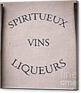 Spiritueux Vins Liqueurs Canvas Print