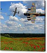 Spitfires Lancaster And Poppy Field Canvas Print