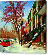 Splendor And Colors Of Quebec Winters Verdun Montreal Urban Street Scene Carole Spandau Canvas Print