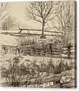Split Rail Winter Sepia Canvas Print